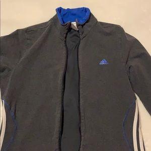 Women's Grey/Blue Adidas Zip Up Jacket